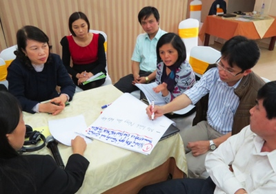 Group discussion to identify existing Humidtropics research gaps. Photo by Tran Phong/ICRAF.