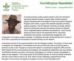 The Humidtropics January-March Newsletter is Out!