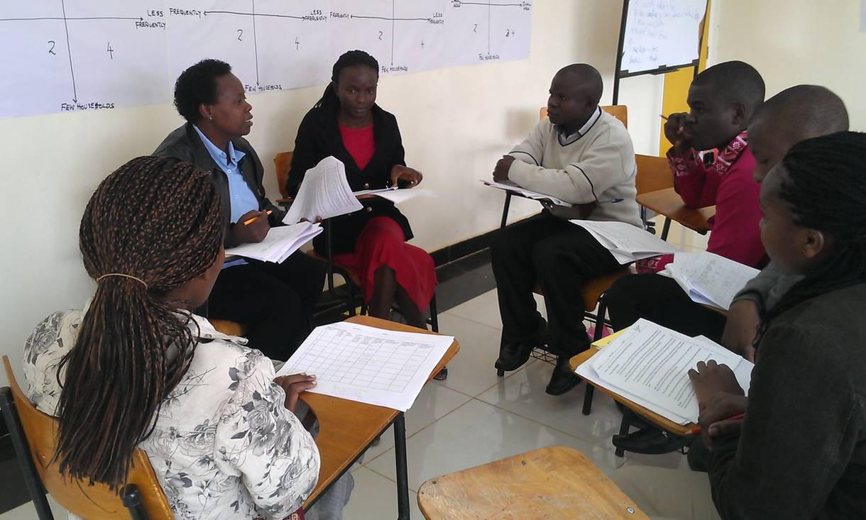 Francis Odhiambo, Research Assistant, Bioversity International, facilitating a training session for enumerators in Nairobi in 2014.