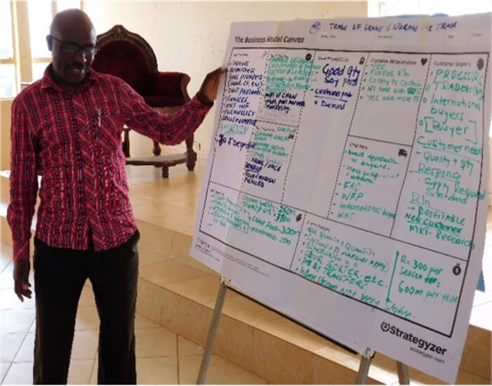 A workshop participant presents the business model he developed together with other participants in Uganda.